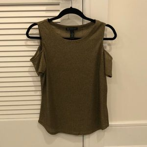 INC Gold Shimmery Open Shoulder Top!